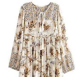 Prairie Boho Style Dress - Midi Length Size M